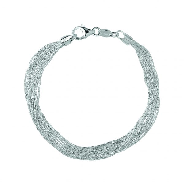 Essentials Sterling Silver Silk 10 Row Bracelet