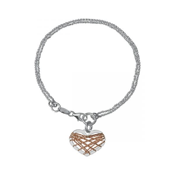 Dream Catcher Bi-Metal Heart Bracelet