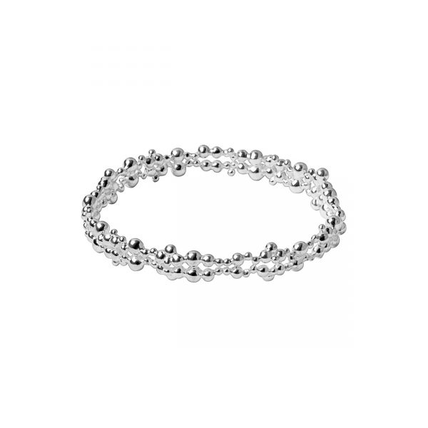 Effervescence Bubble Sterling Silver Slim Bangle