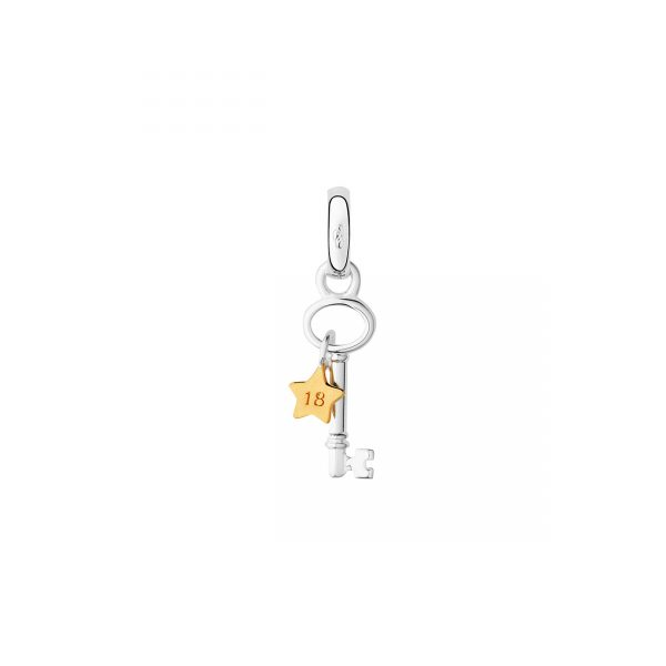Sterling Silver & 18kt Yellow Gold Vermeil 18th Birthday Key & Star Charm