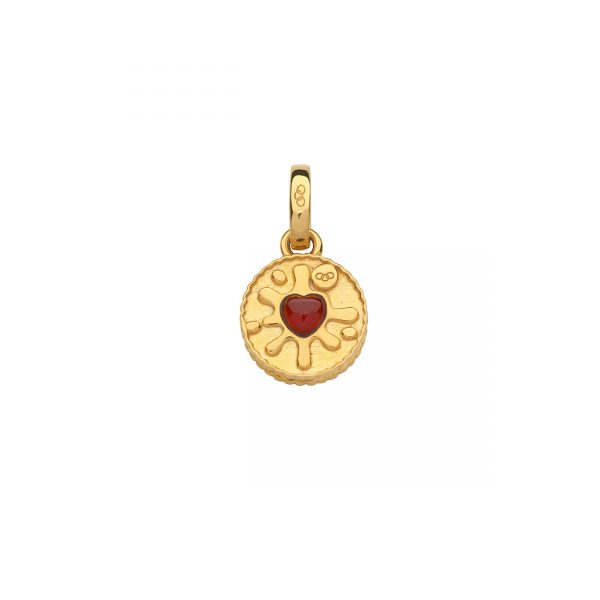 18kt Yellow Gold Vermeil & Garnet Jam Ring Charm