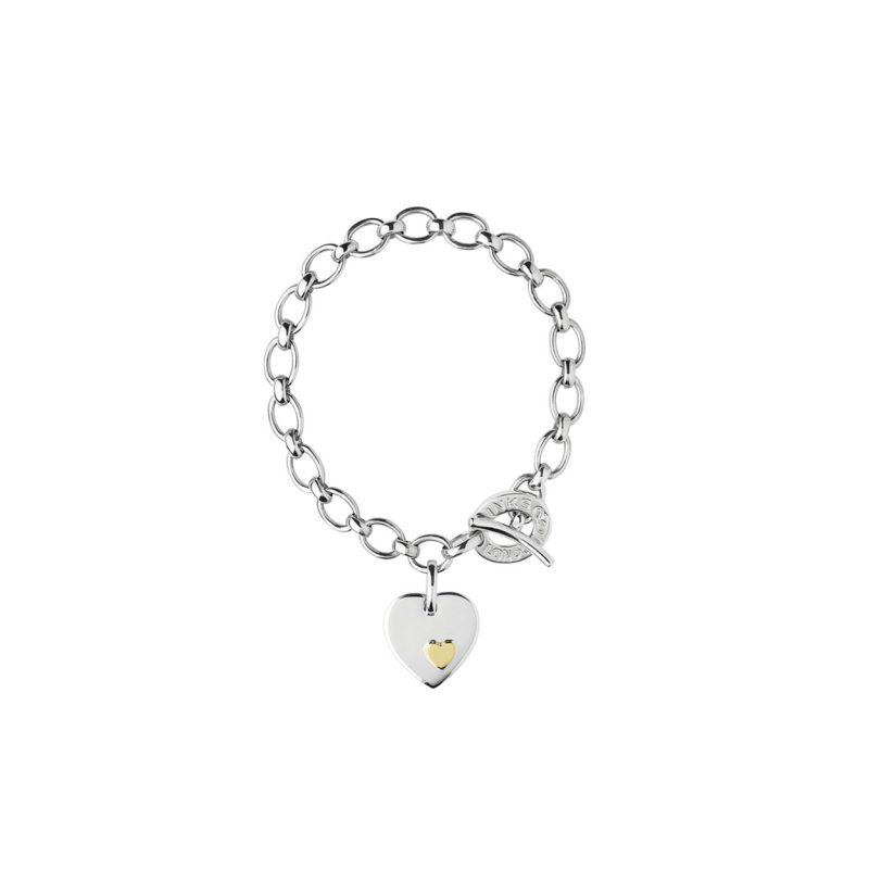 Sterling Silver Heart Disc Charm Bracelet