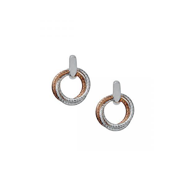 Aurora Cluster Bi-Metal Hoop Earrings