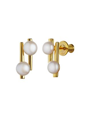 Jersey Pearl Ava Siilver & Yellow Gold Vermeil Earrings