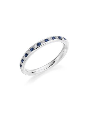 Brilliant cut Sapphire and diamond channel set eternity ring 0.52ct