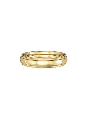 Court Shaped Wedding Band With Track Edge Design 4