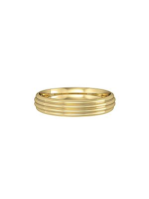 Court Shaped Wedding Band With Ribbed Design 4