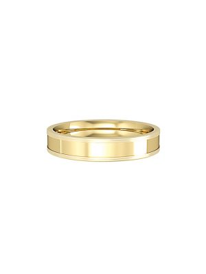Flat Court Wedding Band With Polished Central and Satin Finish Edges 4