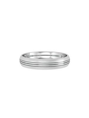 Court Shaped Wedding Band Double Groove centre Line with Satin Finish 4