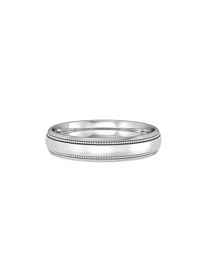Court Shaped Wedding Band Satin Centre with Millgrain Lines and Step Edge 4