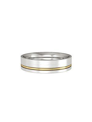 Flat Court Wedding Band White Gold with Satin finish and a polished offset solid yellow gold insert 4