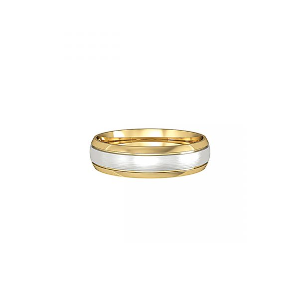 Court Shaped Wedding Band Polished Fitted With a Narrow Satin Solid White Gold Insert. 4