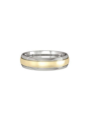 Court Shaped Wedding Band Polished Fitted With a Narrow Satin Solid Yellow Gold Insert 4