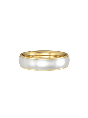 Court Shaped Polished Yellow Gold Flat Court Base and Courted Satin Solid White Gold Insert 4