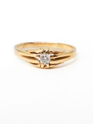 Pre Owned 14ct Gold Single Diamond Ring
