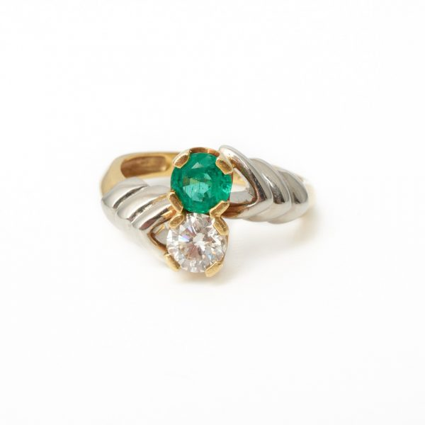 Pre Owned Emerald & Diamond Two Stone Ring