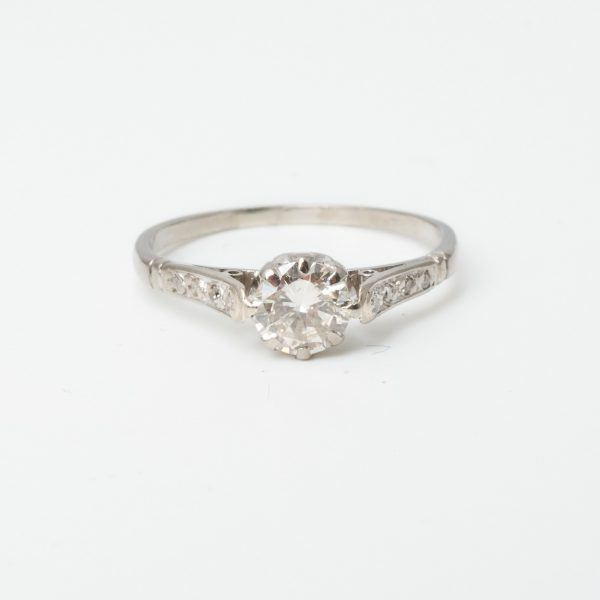 Secondhand platinum diamond ring claw setting with dia set shoulders Approx 1920s