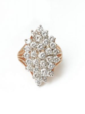 Pre Owned 14ct Yellow Gold Diamond Cluster