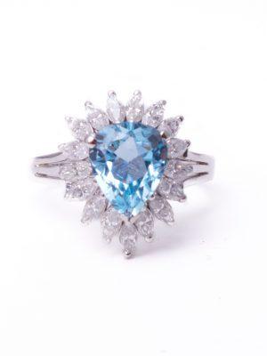 Pre Owned Aquamarine & Diamond Cluster ring