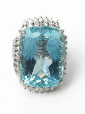 18ct White Gold Aquamarine & Diamond Cocktail Ring