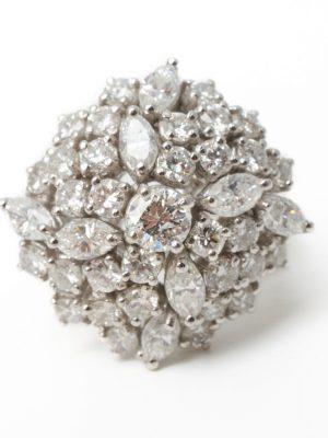 18ct White gold Multi Diamond Cluster Ring