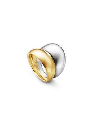 Georg Jensen Curve Ring Silver & 18ct Yellow Gold