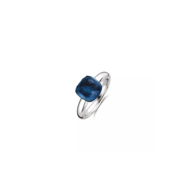 Ti Sento Milano Silver Ring With Dark Blue Faceted Cushion Cut Stone