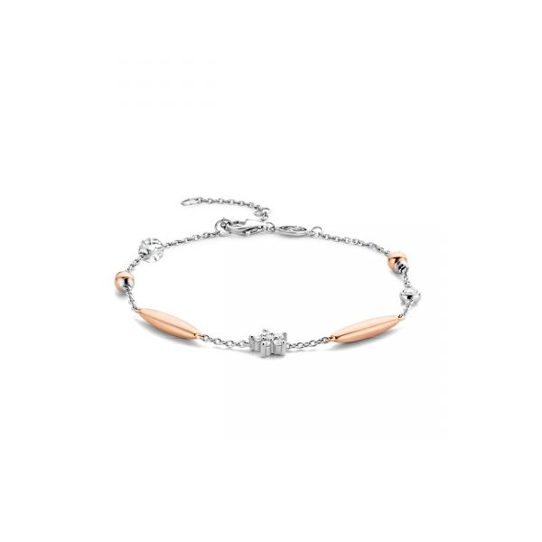 Ti Sento Milano Silver and Rose Gold Plated With Stone Set Star