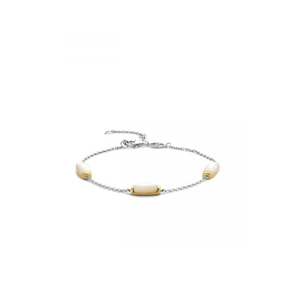 Ti Sento Milano Silver and Yellow Gold Plated Bracelet Set With Mother of Pearl