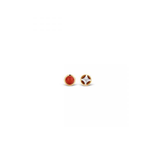 Ti Sento Milano Silver & Yellow Gold Red Stone Stud Earrings