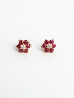 18ct Yellow Gold Ruby & Diamond Cluster Earrings