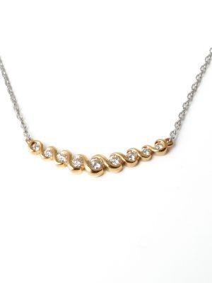18ct Yellow & White Gold Diamond Necklece