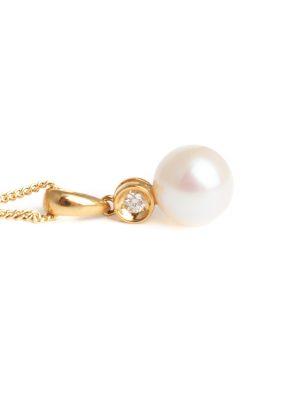 18ct Yellow Gold Pearl & Diamond Pendant