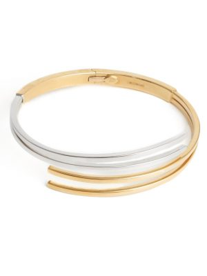 18ct y/wg double crossover hinged bangle