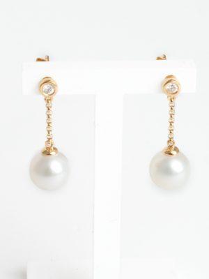 18ct Yellow Gold Pearl & Diamond Drop Earrings