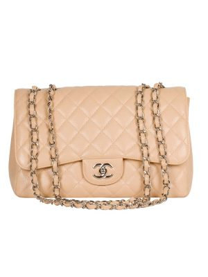 Pre Owned Chanel Beige Caviar Single Flap Bag