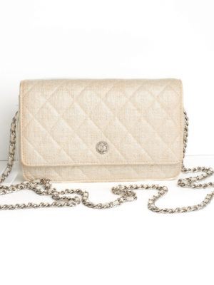 "Pre Owned Chanel ""WOC"" Wallet On Chain Cream Bag"