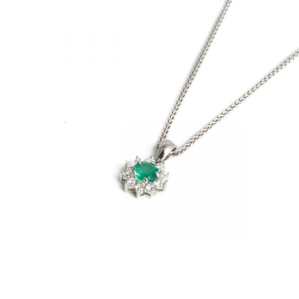 18ct White Gold Emerald & Diamond Cluster Pendant
