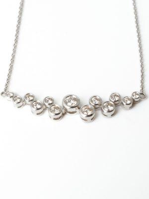 18ct White Gold Bubble Necklace