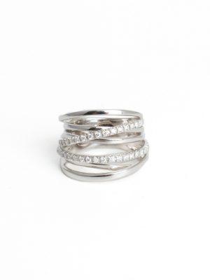 18ct White Gold 7 Row Diamond Set Ring