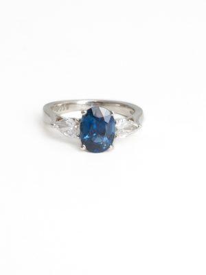 Platinum Sapphire & Diamond three Stone Ring