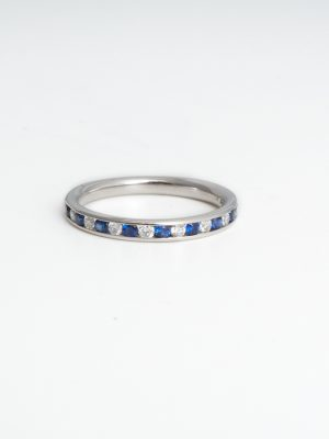 18ct White Gold Sapphire & Diamond Eternity Ring
