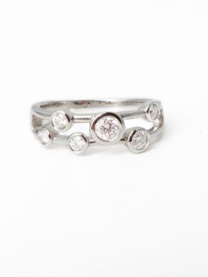 18ct White Gold Two Row Diamond Bubble Ring