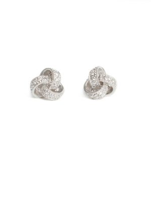 18ct White Gold Diamond Knott Earrings