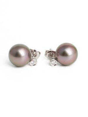 18ct White Gold Tahitian Pearl & Diamond Earrings