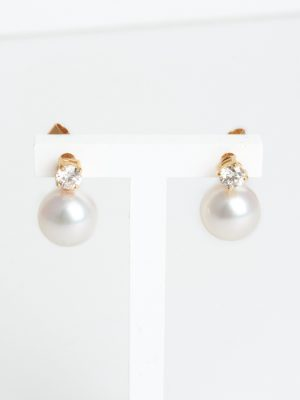 18ct Yellow Gold Pearl and Diamond Earrings