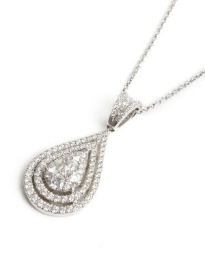 18ct White Gold Pear Shaped Diamond Pendant