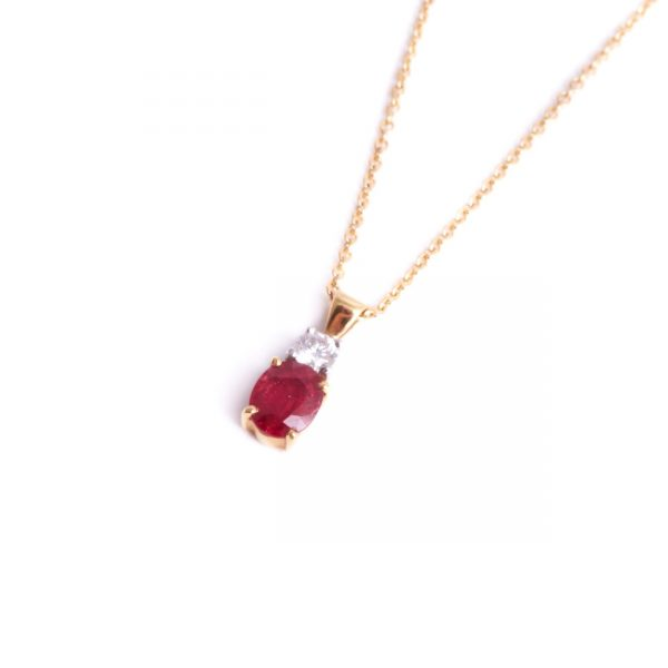 18ct Yellow Gold Ruby & Diamond Pendant