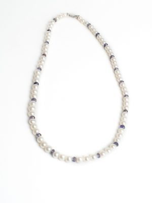 9ct White Gold Pearl & Iolite Necklace