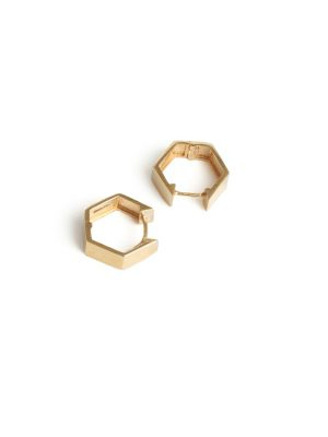 9ct Yellow Gold Hexagon Hoop Earrings